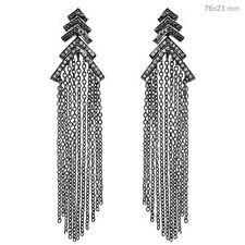 Natural Diamond Pave 925 Sterling Silver Tassel/Chandelier Earrings Fine Jewelry
