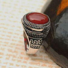 Real Solid 925 Sterling Silver Men's Women's Rings Agate Polished Size 6-11