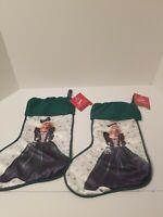 Vintage Lot 2 Hallmark: Holiday Barbie Christmas Stocking 1995 Hallmark Green