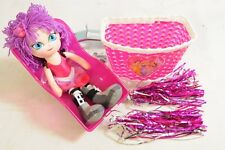 GIRLS BIKE ACCESSORY IDEAL GIFT SET PINK DOLLY SEAT, MOLLY DOLLY,BASKET,STREAMER