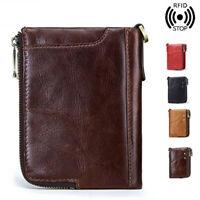 Leather Credit Card Holder Money cash Wallet Mens Clip RFID Blocking Coin Purse