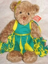 "Gund cheerleading Poms Julia Je m'appelle green & yellow 13"" brown bear"