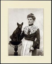 SCHIPPERKE EDWARDIAN LADY AND HER DOG LOVELY PRINT MOUNTED READY TO FRAME