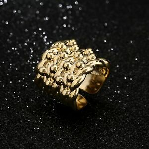 18ct Gold GF Keeper Ring Mens Boys Big Heavy Chunky Large Adjustable