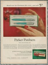 1956 PARKER PEN & PENCIL SET advertisement, Christmas gifts liquid lead