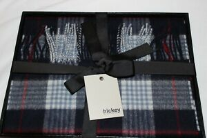 Hickey Freeman Mens Navy Plaid Wool Cashmere Blend Scarf $395
