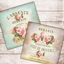 "Set of 2 Shabby Chic Vintage Wall Art Prints Roses French Text Pink Blue 8""sq"