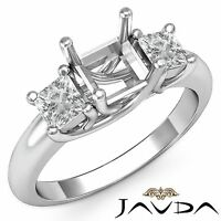 Princess Diamond 3 Stone Engagement Trellis Ring Semi Mount 18k White Gold 0.8Ct