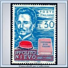 1961 Italia Repubblica L. 30 Ippolito Nievo n. 923 **