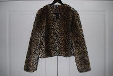 NWT FEVER $149 XL WOMEN'S FAUX LEOPARD FUR JACKET SHRUG BOLERO