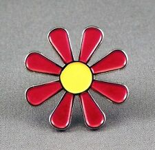 Metal Enamel Pin Badge Brooch Daisy Hippy Flower Power Love Luv Peace Free Red