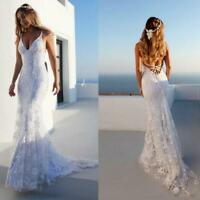 New Mermaid Spaghetti Straps Lace Wedding Dresses Backless Beach Bridal Gown