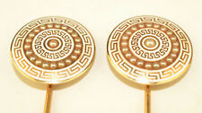 "Antique Pair 14K Yellow Gold 9"" Enamel Seed Pearl Hinged Hatpin Greek Key 27.6 g"