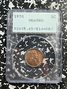 1930 U.S. Lincoln Penny Wheat Cent PCGS MS65 Red Lot#FM156 Gem BU! OGH Rattler