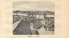 Stampa antica LEGNAGO veduta panoramica Verona Veneto 1891 Old antique print