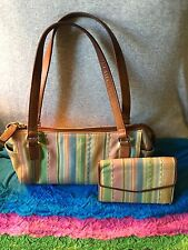 Fossil Multi Pastel Stripe Leather Shoulder Bag Handbag Zip HoboOrganizerWallet