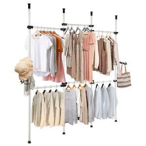 Closet System Storage Organizer Garment Rack Clothes Hanger Dry 4 Poles 6 Bars