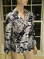 New With Tags $129 CHICO'S Size 1 small Navy Blue & White 3-Button Blazer Jacket