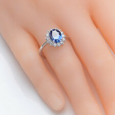 925 Sterling Silver Blue Sapphire White Topaz Oval Halo Gemstone Ring Size 7