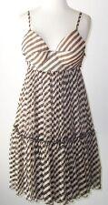 JEAN PAUL GAULTIER Black Tan Silk Chiffon Stripe Baby Doll Bustier Dress  6