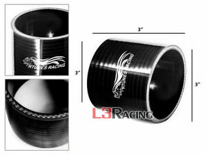 """Black 3.0"""" 76mm 3-ply Silicone Hose Coupler Turbo Intake Intercooler For Acura"""