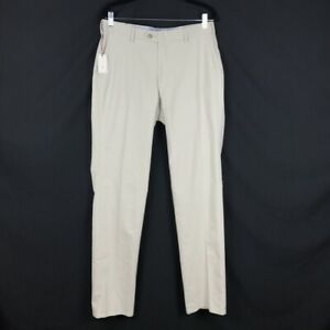 Peter Millar Mens Soft Touch Twill Flat Front Golf Pant in Light Sand 33x35