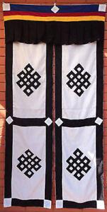 Tibetan Cotton Open/Split Door Curtain Endless Knot Design NEPAL