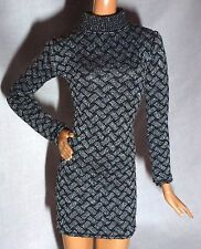 DRESS ~ BARBIE DOLL LOOK CITY SHOPPER GRAY BLACK PRINT LONG SLEEVE MODEL MUSE