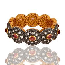 Pink Tourmaline Cz Gemstone Brass Cuff Bangle Bracelet Jewelry 18K Gold Plated