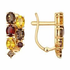SOKOLOV Solid Rose Gold 585/14k Earrings with Smoky Quartz, Garnet & Citrine NWT