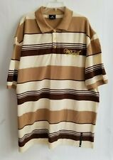 Red Ape Polo Shirt Embroidered Logo Short Sleeve Mens Striped Taupe Brown Sz 5XL
