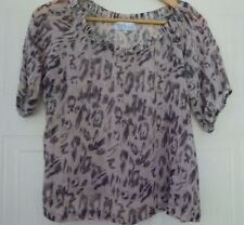 Diffuse Semi Sheer Animal Leopard Print Loose Top Blouse Bardot 10 34 S Eur 38