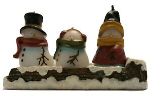 3Pcs Christmas Candles Set Christmas Snowman House Paraffin Candles On Holder