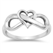 Oxidized Heart Infinity Love Knot Promise Ring Sterling Silver Band Sizes 4-10