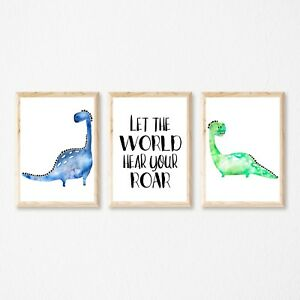 Set of 3 Dinosaur,Can be Personalised with NAME, Wall Art Print Decor,Nursery