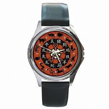 Chinese Lunar Calendar Year of Zodiac Animals Symbols Leather Watch New!