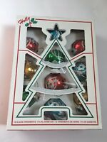 Vintage Christmas Ornaments Holiday Glass Made In USA Holly Colored Glass Glitz