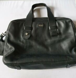Genuine Hugo Boss Black Leather Messenger Satchel Laptop Shoulder Bag