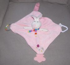 STEPHAN PINK BUNNY RABBIT SECURITY BLANKET LOVEY TEETHER RATTLE TOY  FLOWER