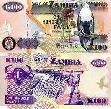 Zambia 100 Kwacha Banknote World Paper Money UNC Currency PICK p-38f Bird Note
