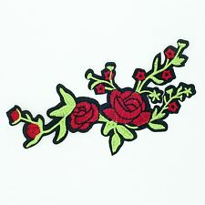 Two Rose Green Banch (Iron On) Embroidery Applique Patch Sew Iron Badge