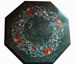 "12"" Green Marble coffee Table Top Semi Precious Stones work Inlay Handicraft"