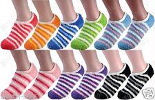 New Non Skid 12 Pairs Womens Soft Cozy Fuzzy Warm Stripe Slipper Socks Size 9-11