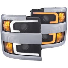Anzo 111365 Black Switchback Headlights for 2015-2019 Silverado 2500HD 3500HD