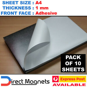 10 x A4 Magnetic Magnet Sheets Adhesive Front - School Wedding Office 1mm 1.0mm