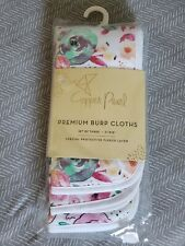"""Copper Pearl Burp Cloths Bloom Set of Three 21"""" x 10"""" with fleece layer"""