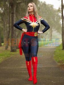 Ms.Captain Marvel Carol Danvers Superhero Cosplay Costume Spandex Zentai Suit