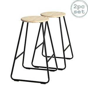 2x Wooden Bar Stools Breakfast Kitchen Island Counter Dining Chair Black / Pine