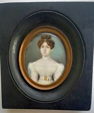 """Peter Mayr (1758-1836) """"Lady in Empire Gown"""", Fine Miniature Painting Dated 1826"""