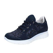 scarpe donna HB HELENE 37 EU sneakers blu glitter camoscio BZ758-D